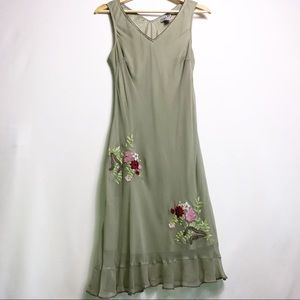 Robbie Bee Vntg Green Floral 100% Silk Dress 10P